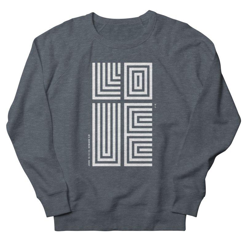 LOVE CROSS (WHITE) Men's French Terry Sweatshirt by Jamus + Adriana