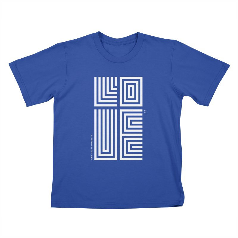 LOVE CROSS (WHITE) Kids T-Shirt by Jamus + Adriana
