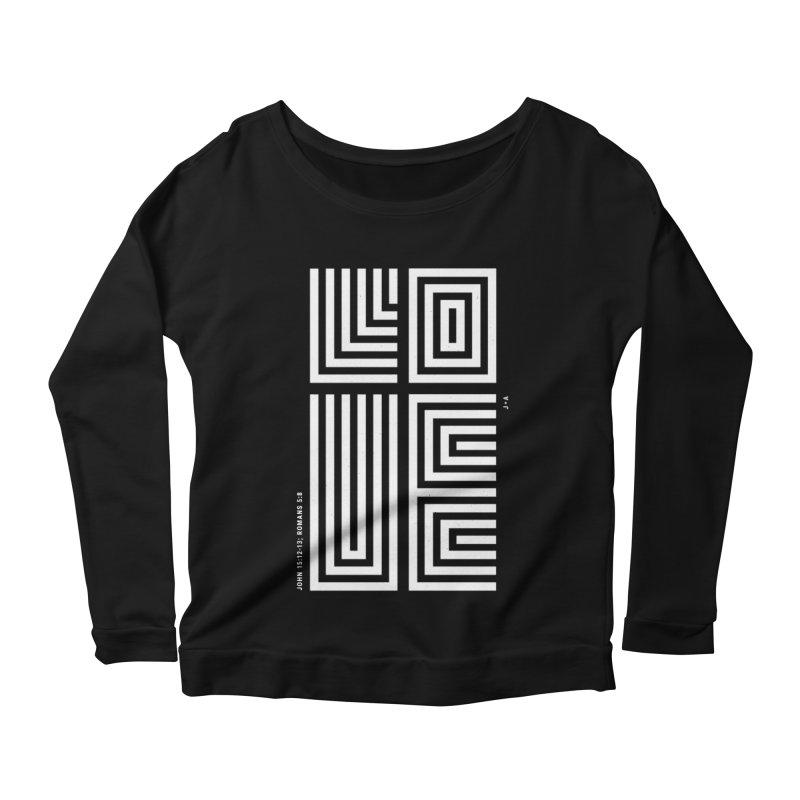 LOVE CROSS (WHITE) Women's Scoop Neck Longsleeve T-Shirt by Jamus + Adriana
