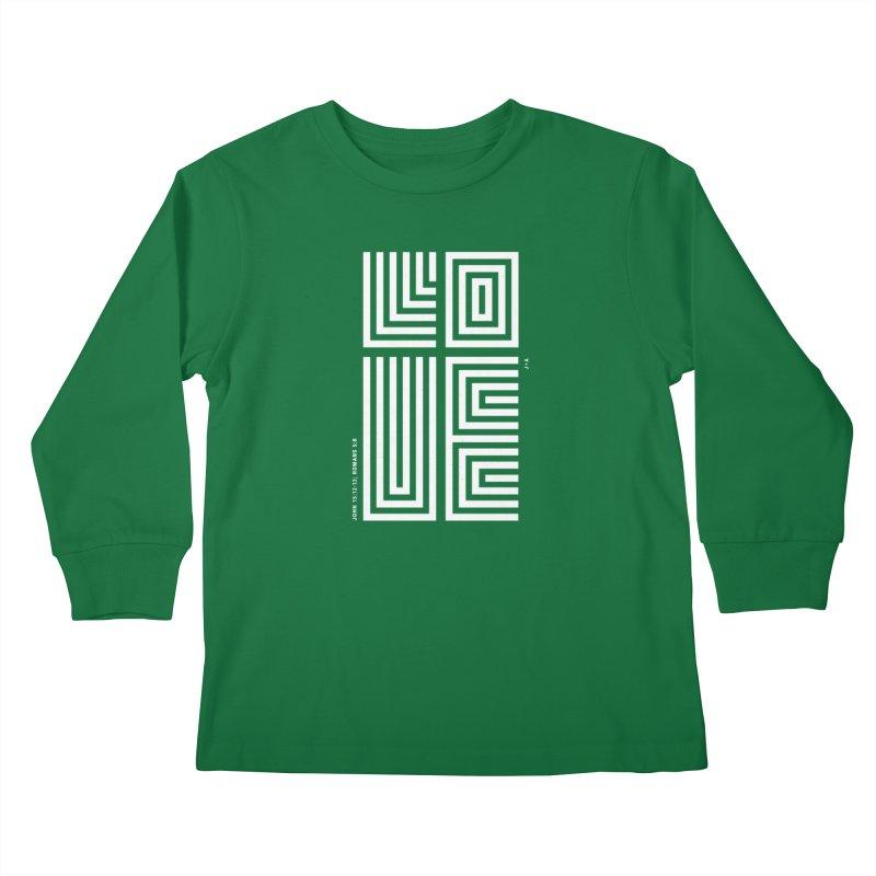 LOVE CROSS (WHITE) Kids Longsleeve T-Shirt by Jamus + Adriana