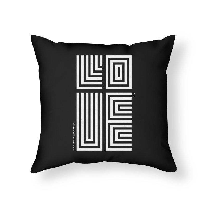 LOVE CROSS (WHITE) Home Throw Pillow by Jamus + Adriana