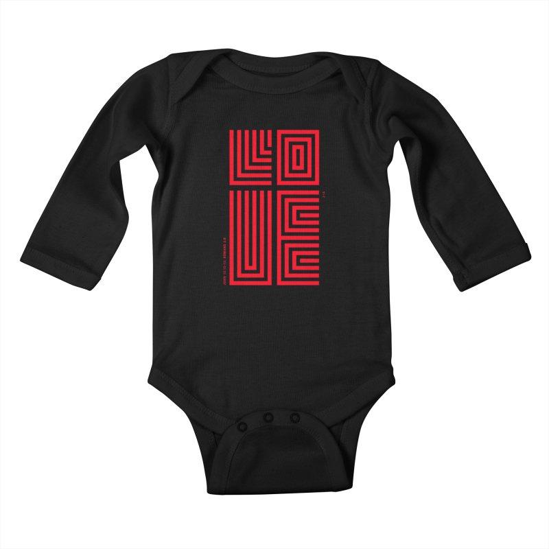 LOVE CROSS (RED) Kids Baby Longsleeve Bodysuit by Jamus + Adriana