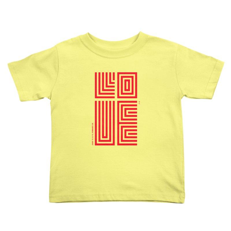 LOVE CROSS (RED) in Kids Toddler T-Shirt Lemon by Jamus + Adriana