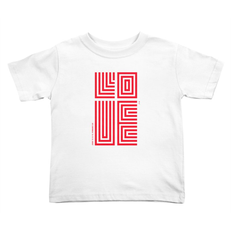 LOVE CROSS (RED) Kids Toddler T-Shirt by Jamus + Adriana