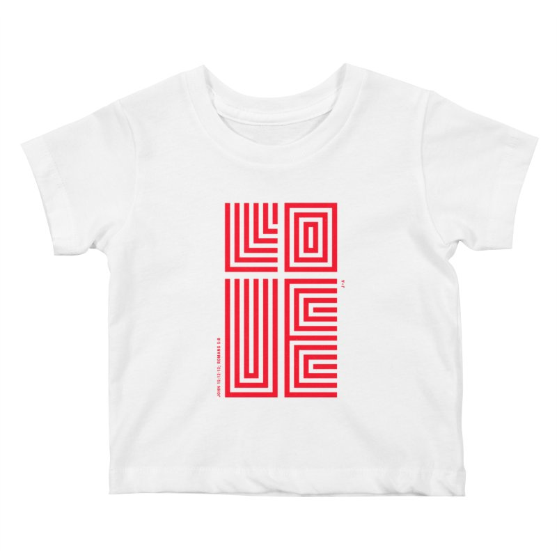LOVE CROSS (RED) Kids Baby T-Shirt by Jamus + Adriana