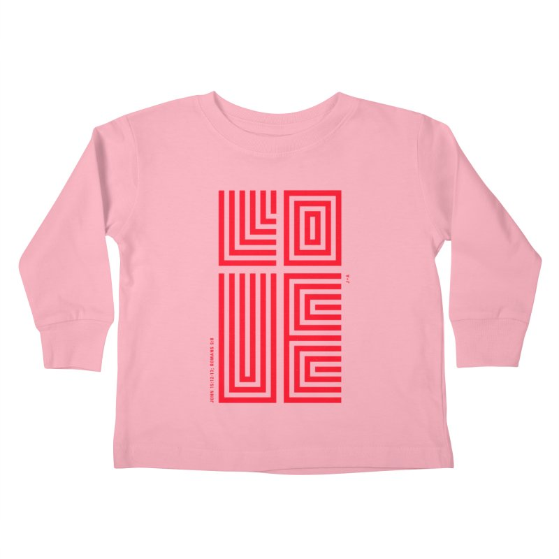 LOVE CROSS (RED) Kids Toddler Longsleeve T-Shirt by Jamus + Adriana
