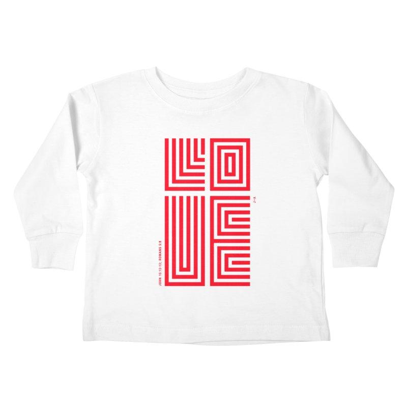 LOVE CROSS (RED) Kids Toddler Longsleeve T-Shirt by Jamus + Adriana