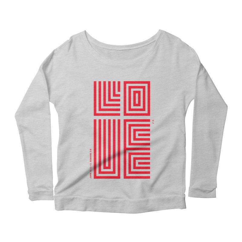 LOVE CROSS (RED) Women's Scoop Neck Longsleeve T-Shirt by Jamus + Adriana