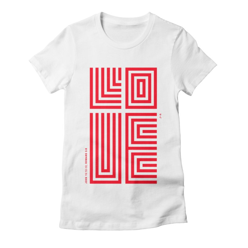 LOVE CROSS (RED) Women's Fitted T-Shirt by Jamus + Adriana