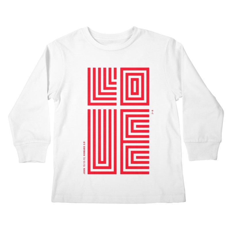 LOVE CROSS (RED) Kids Longsleeve T-Shirt by Jamus + Adriana