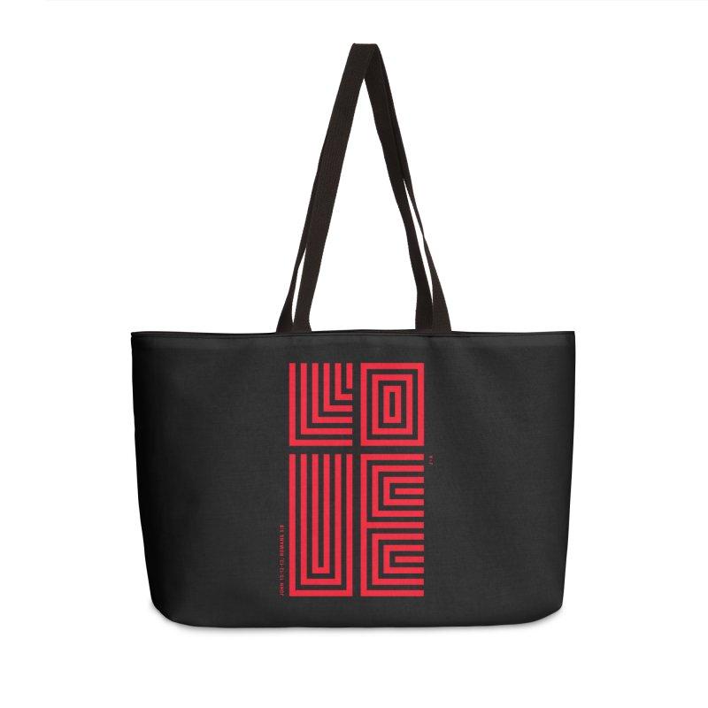 LOVE CROSS (RED) Accessories Weekender Bag Bag by Jamus + Adriana