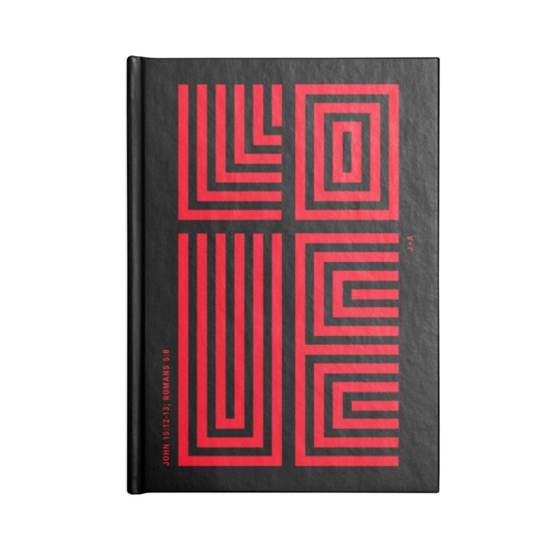 LOVE CROSS (RED) Accessories Blank Journal Notebook by Jamus + Adriana