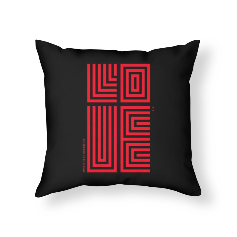 LOVE CROSS (RED) Home Throw Pillow by Jamus + Adriana