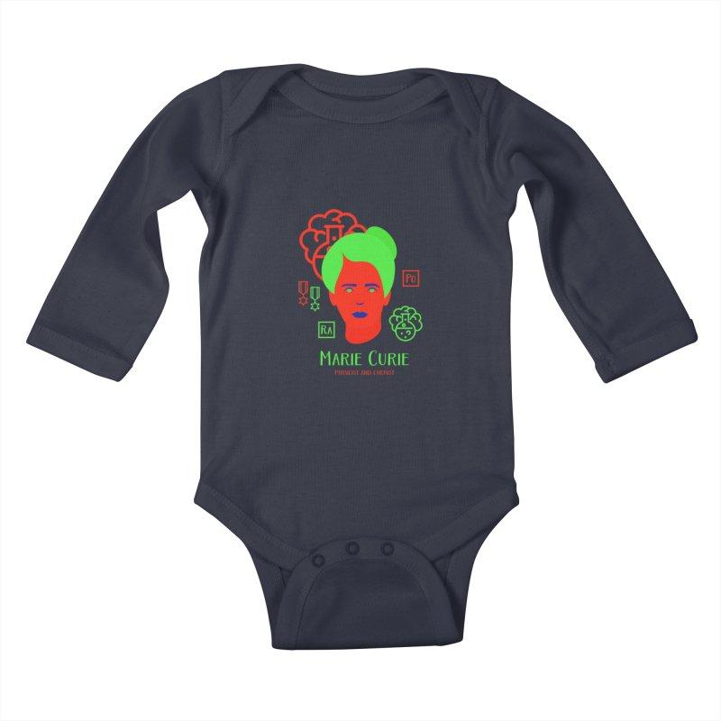 Marie Curie Kids Baby Longsleeve Bodysuit by Jana Artist Shop