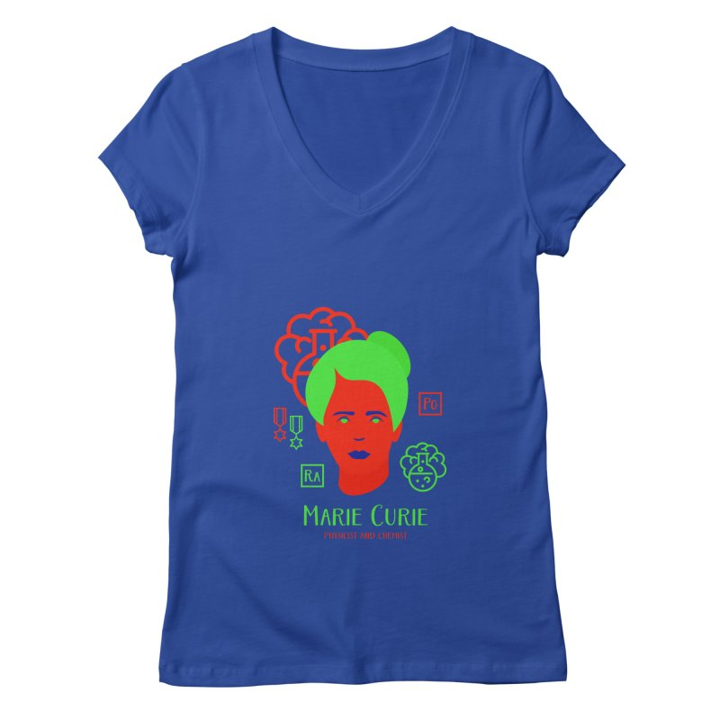 Marie Curie Women's Regular V-Neck by Jana Artist Shop