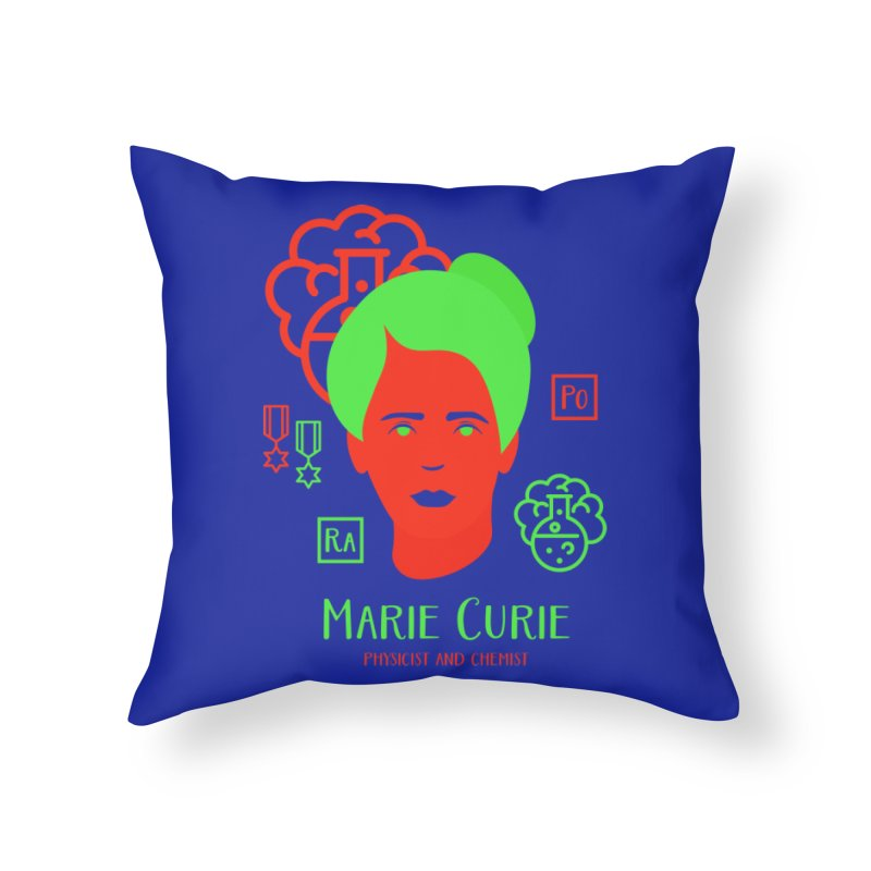 Marie Curie Home Throw Pillow by Jana Artist Shop