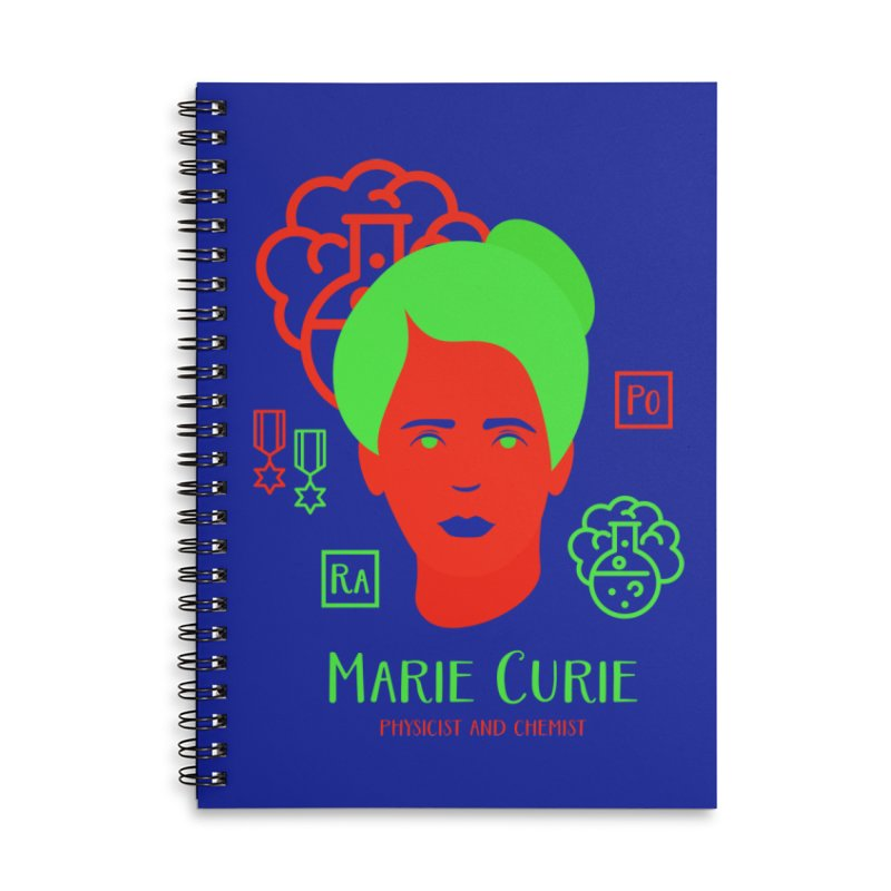 Marie Curie Accessories Lined Spiral Notebook by Jana Artist Shop