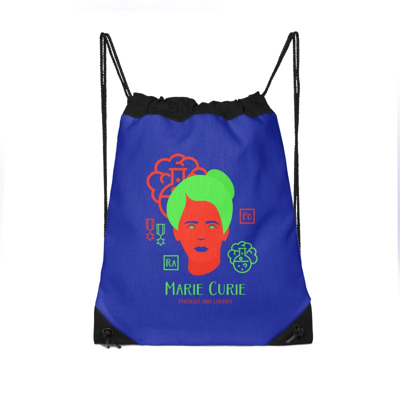 Marie Curie Accessories Drawstring Bag Bag by Jana Artist Shop