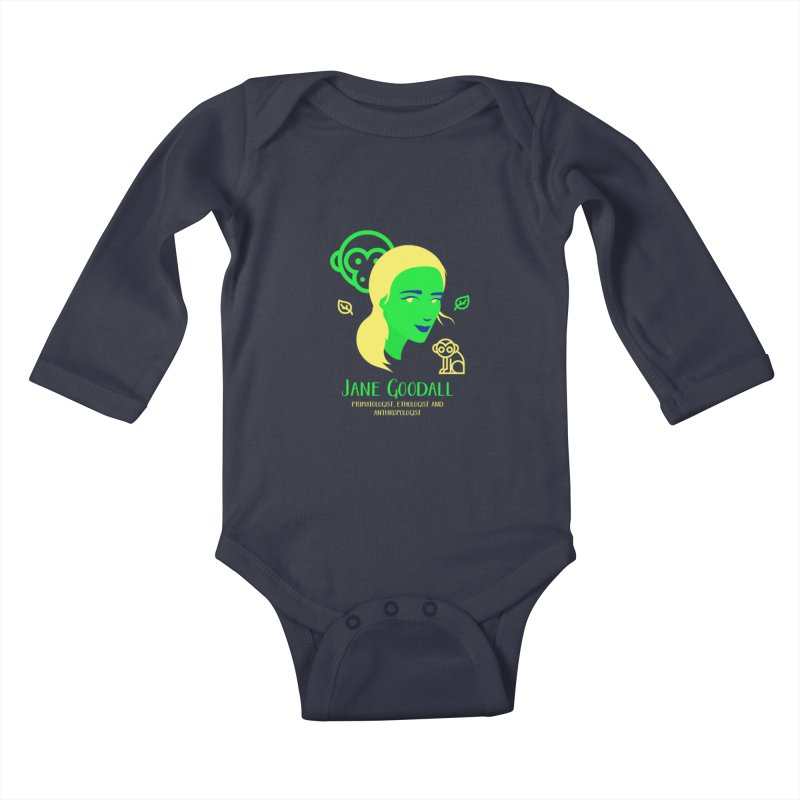 Jane Goodall Kids Baby Longsleeve Bodysuit by Jana Artist Shop