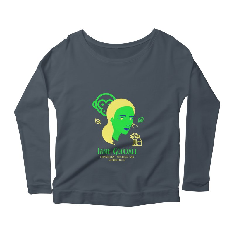 Jane Goodall Women's Longsleeve Scoopneck  by Jana Artist Shop