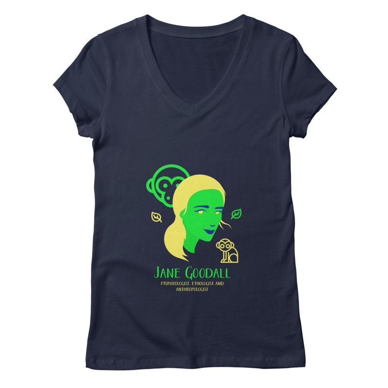Jane Goodall Women's V-Neck by Jana Artist Shop