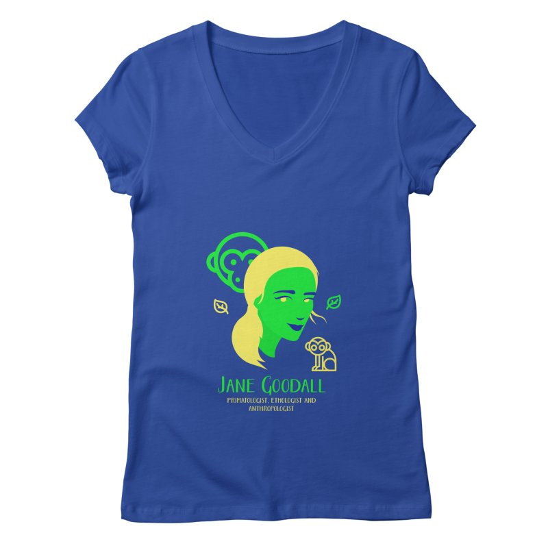 Jane Goodall Women's Regular V-Neck by Jana Artist Shop