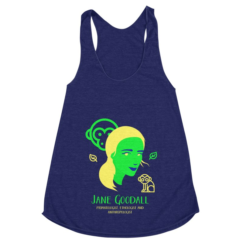 Jane Goodall Women's Racerback Triblend Tank by Jana Artist Shop