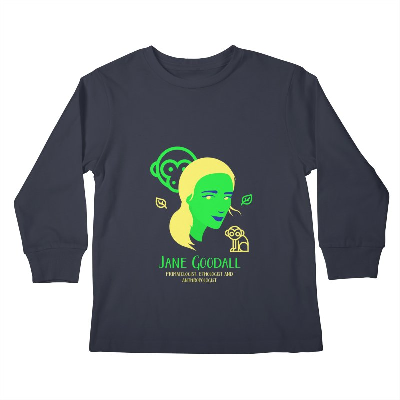 Jane Goodall Kids Longsleeve T-Shirt by Jana Artist Shop