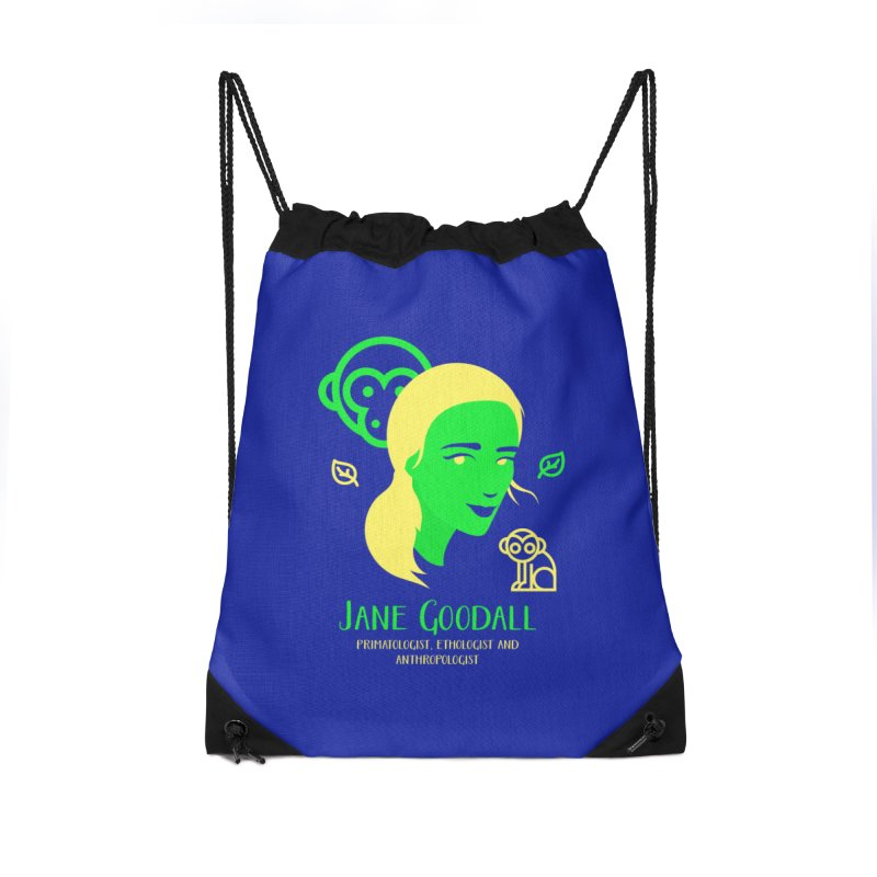 Jane Goodall Accessories Drawstring Bag Bag by Jana Artist Shop