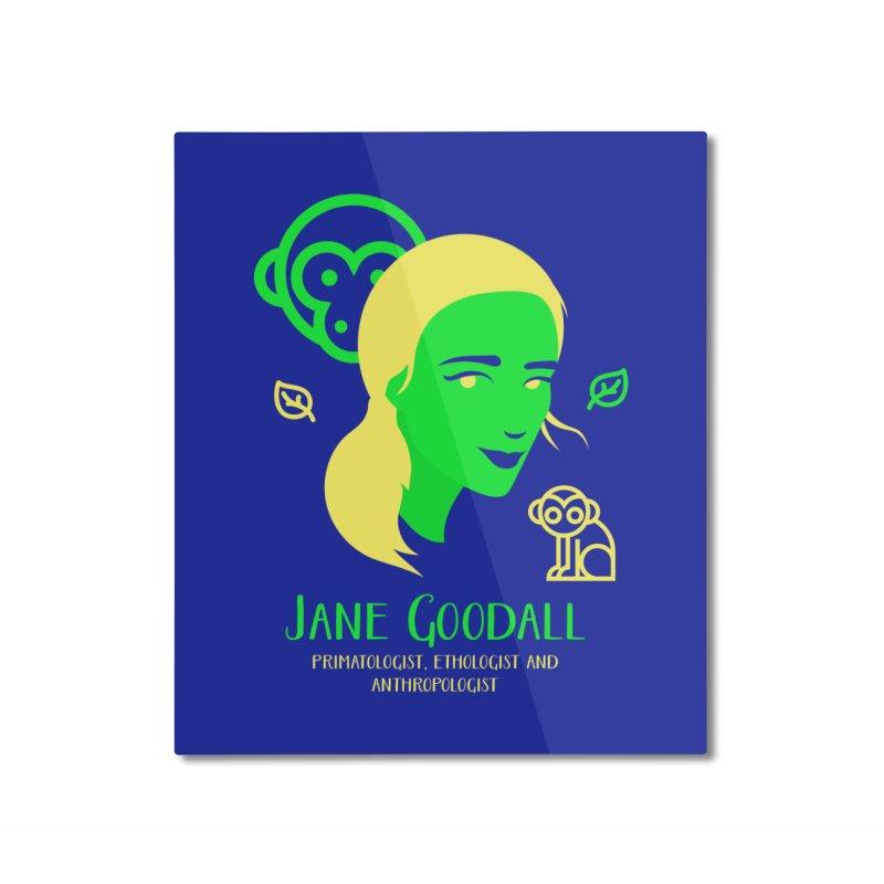 Jane Goodall Home Mounted Aluminum Print by Jana Artist Shop