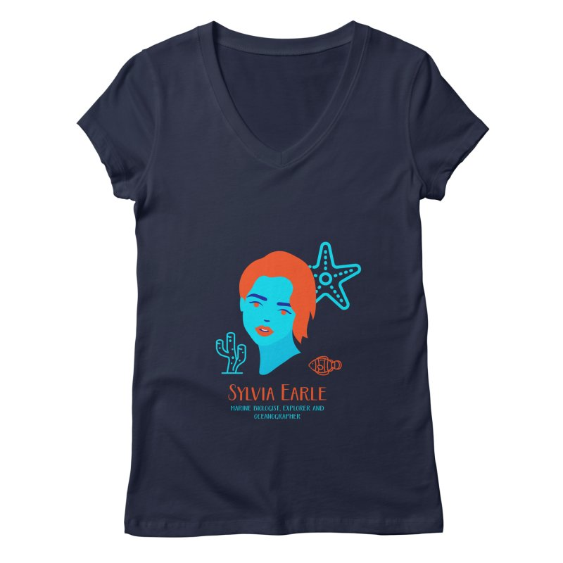 Sylvia Earle Women's Regular V-Neck by Jana Artist Shop