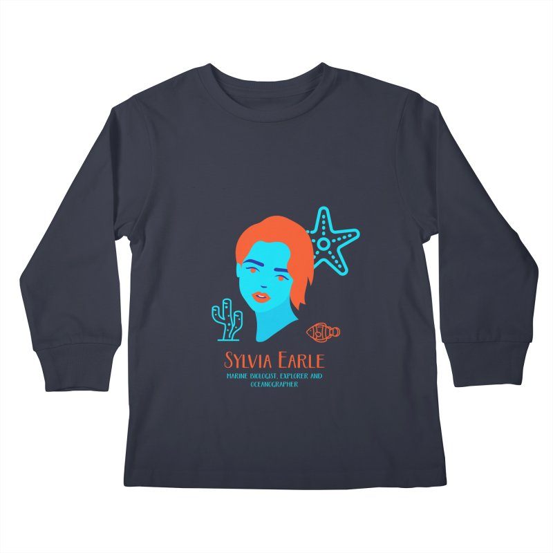 Sylvia Earle Kids Longsleeve T-Shirt by Jana Artist Shop