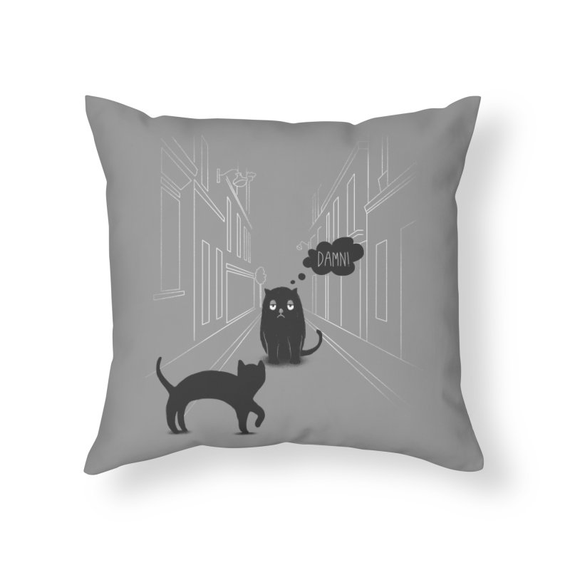 The Superstitious Cat Home Throw Pillow by Jana Artist Shop