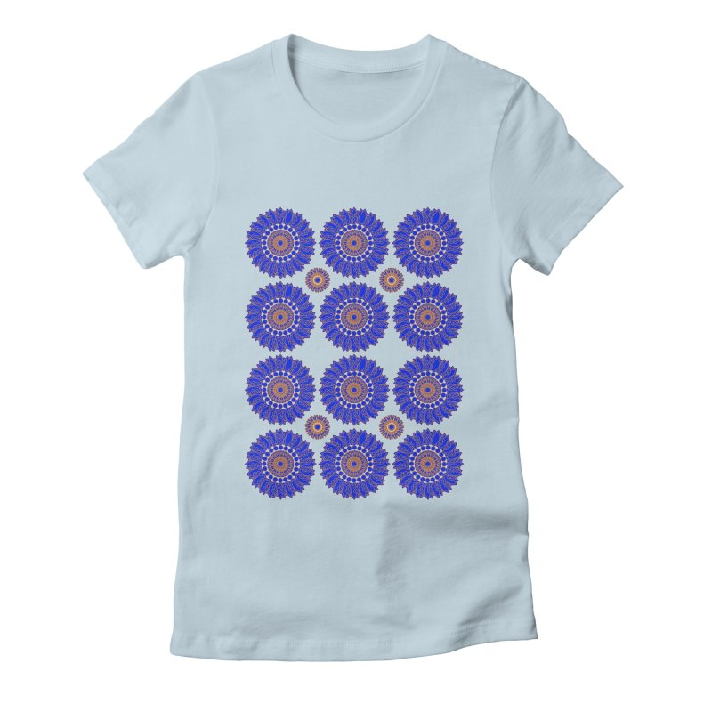 Blue Daisy  Women's Fitted T-Shirt by jandeangelis's Artist Shop