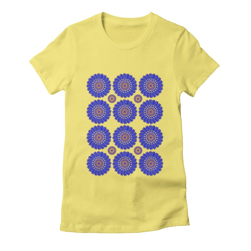 Blue Daisy  Women's Fitted T-Shirt by jandeangelis's Artist Shop