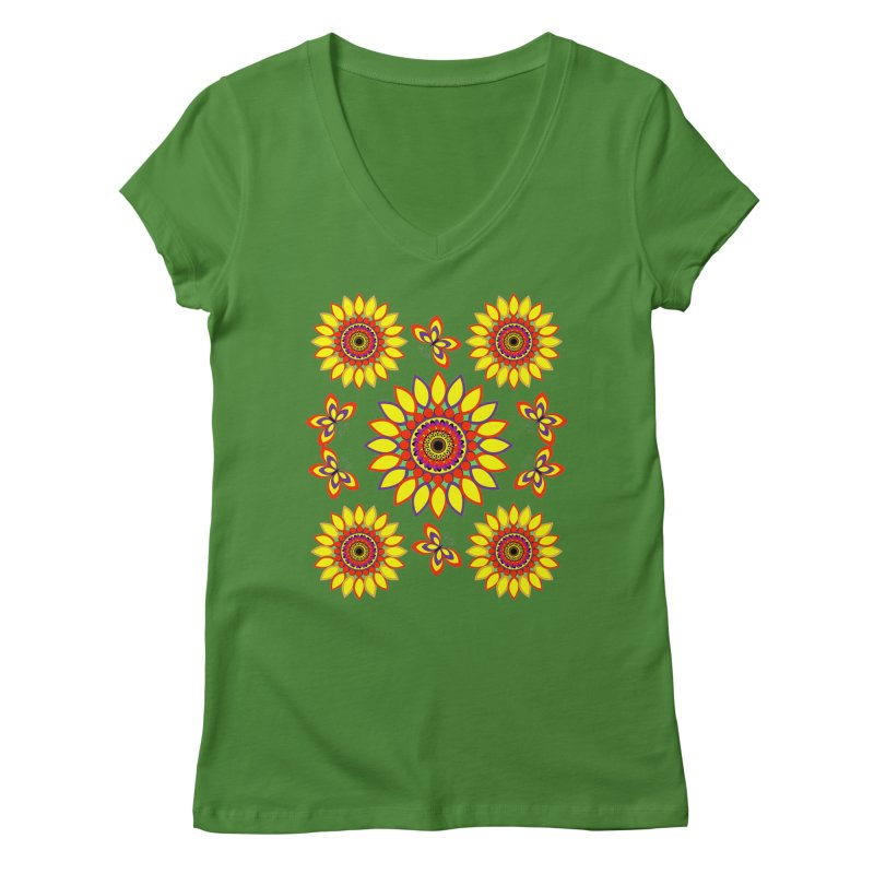 Daisy Days of Summer Women's Regular V-Neck by jandeangelis's Artist Shop