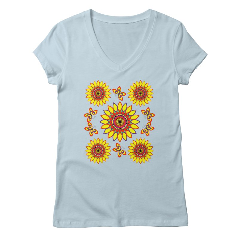 Daisy Days of Summer Women's V-Neck by jandeangelis's Artist Shop