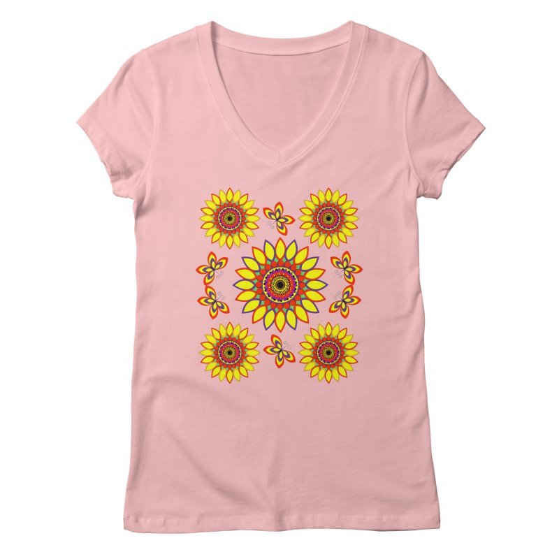 Daisy Days of Summer Women's V-Neck by jandeangelis's Artist Shop