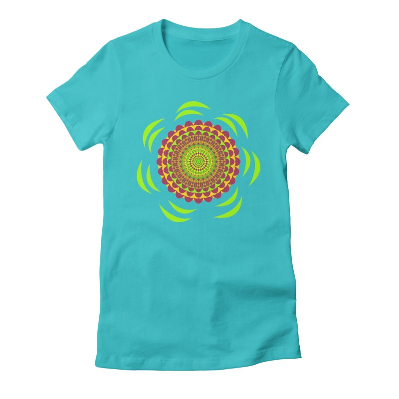 Psychedelic Flower Power Women's Fitted T-Shirt by jandeangelis's Artist Shop