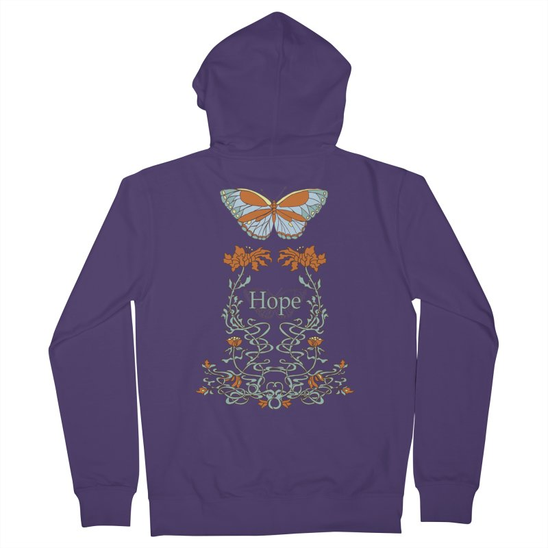 Hope Butterfly  Women's French Terry Zip-Up Hoody by jandeangelis's Artist Shop