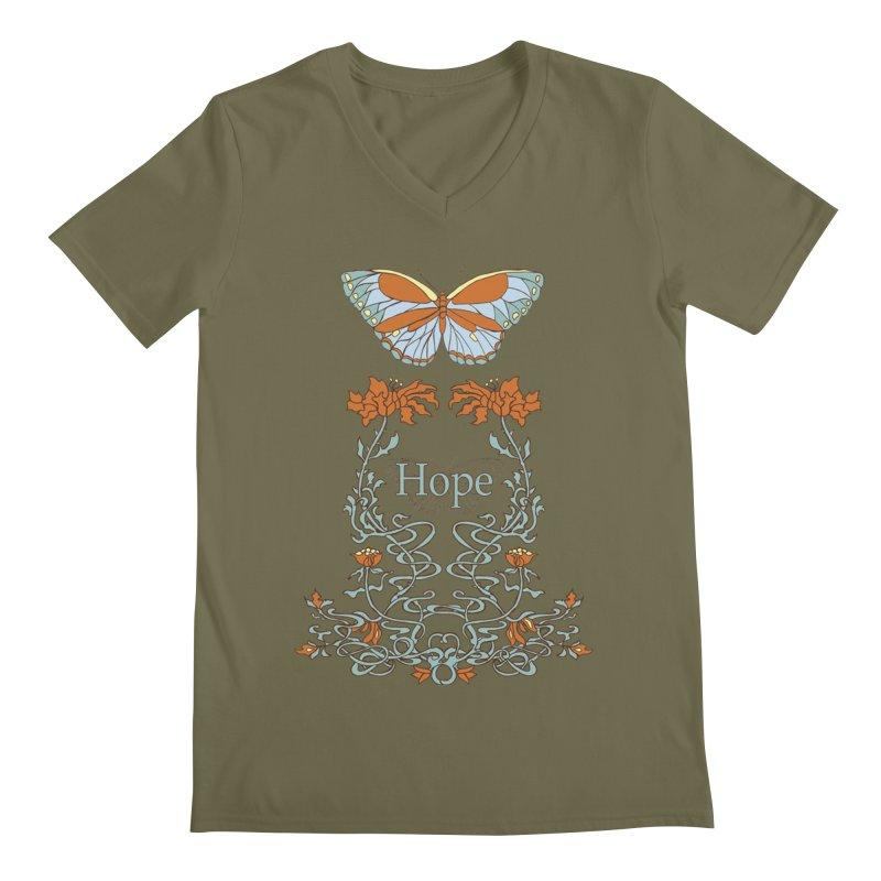 Hope Butterfly  Men's Regular V-Neck by jandeangelis's Artist Shop