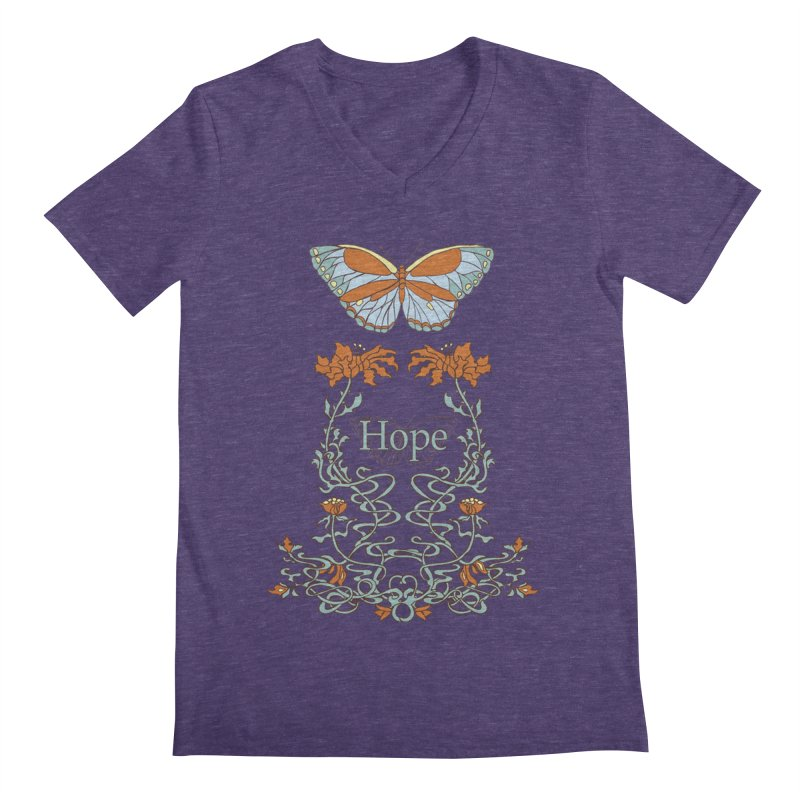 Hope Butterfly  Men's Regular V-Neck by jandeangelis's Artist Shop