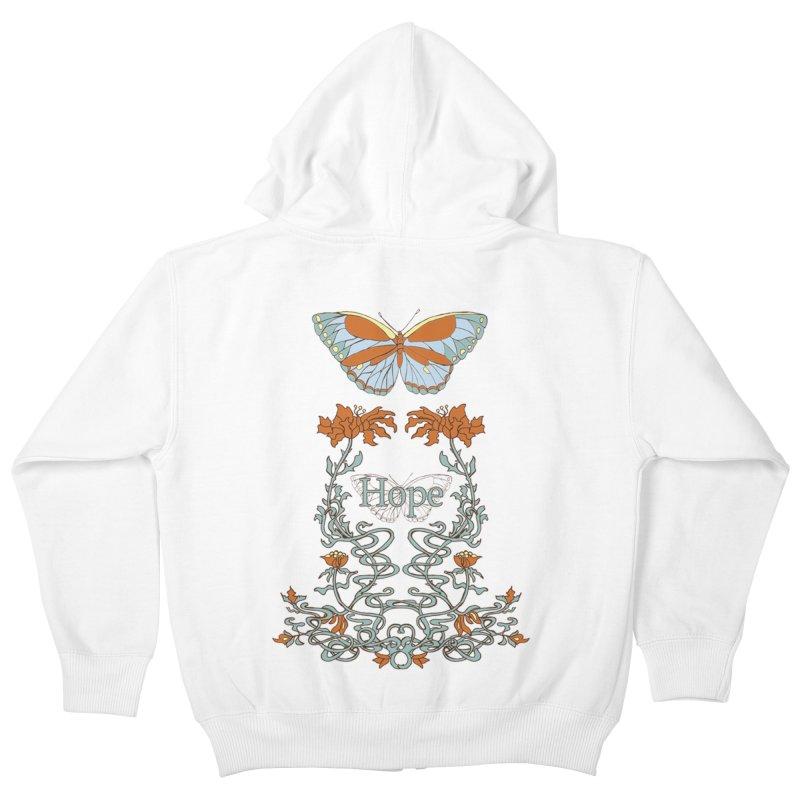 Hope Butterfly  Kids Zip-Up Hoody by jandeangelis's Artist Shop