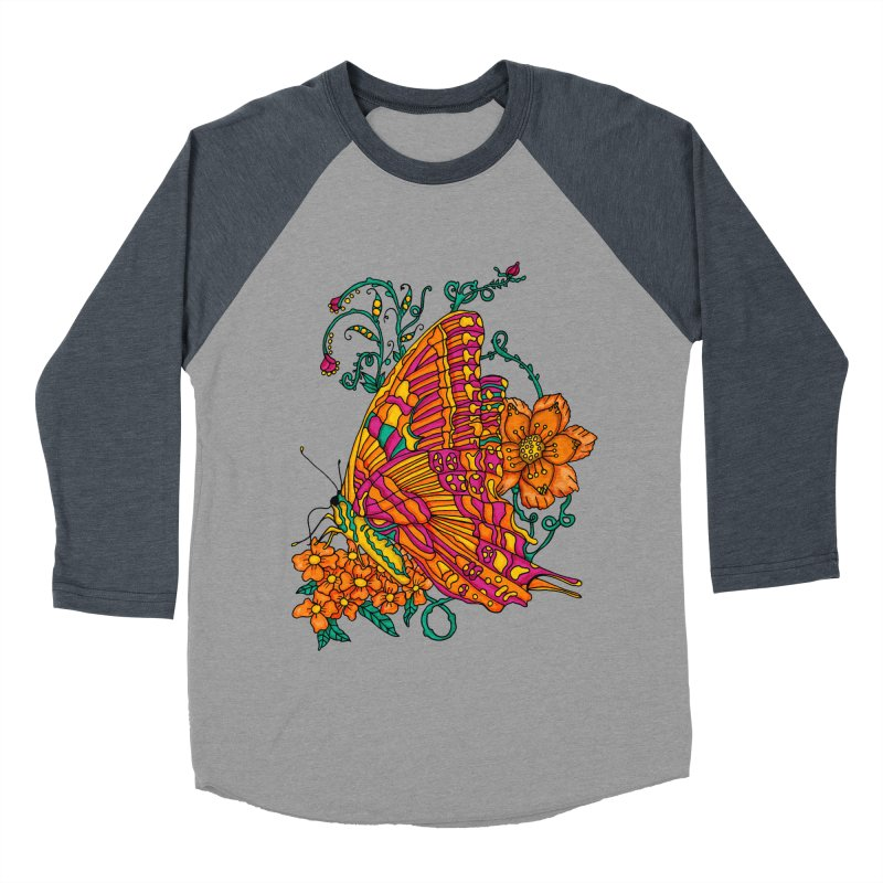 Tye Dye Butterfly Men's Baseball Triblend T-Shirt by jandeangelis's Artist Shop