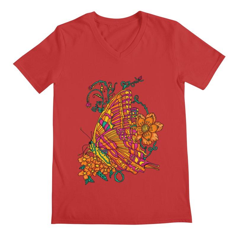 Tye Dye Butterfly Men's V-Neck by jandeangelis's Artist Shop