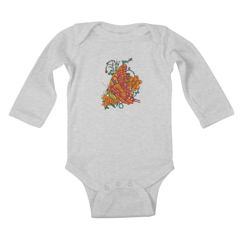 Tye Dye Butterfly Kids Baby Longsleeve Bodysuit by jandeangelis's Artist Shop