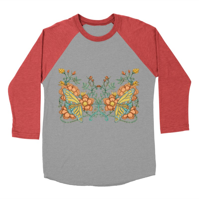 Butterflies in Flowers and Vines Men's Longsleeve T-Shirt by jandeangelis's Artist Shop