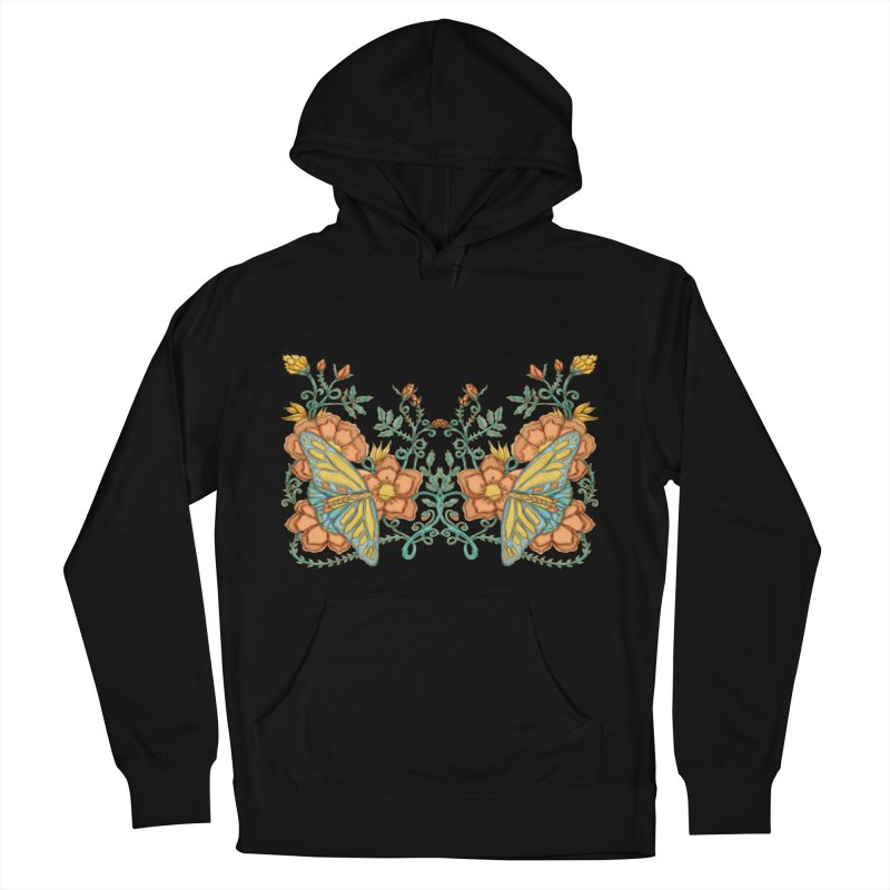 Butterflies in Flowers and Vines Women's French Terry Pullover Hoody by jandeangelis's Artist Shop