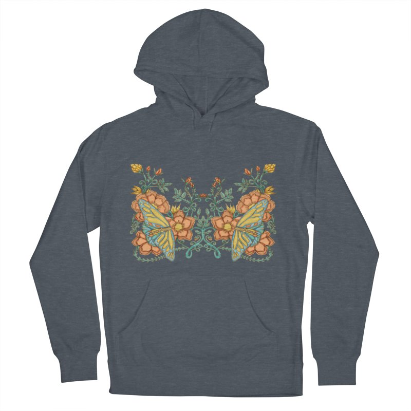Butterflies in Flowers and Vines Men's French Terry Pullover Hoody by jandeangelis's Artist Shop