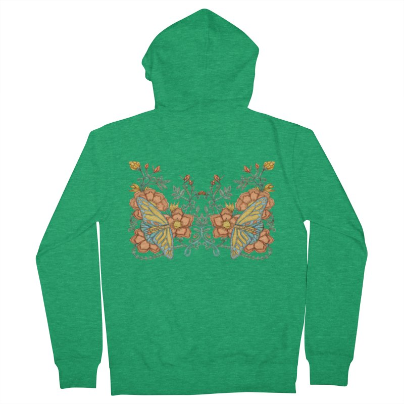 Butterflies in Flowers and Vines Women's French Terry Zip-Up Hoody by jandeangelis's Artist Shop